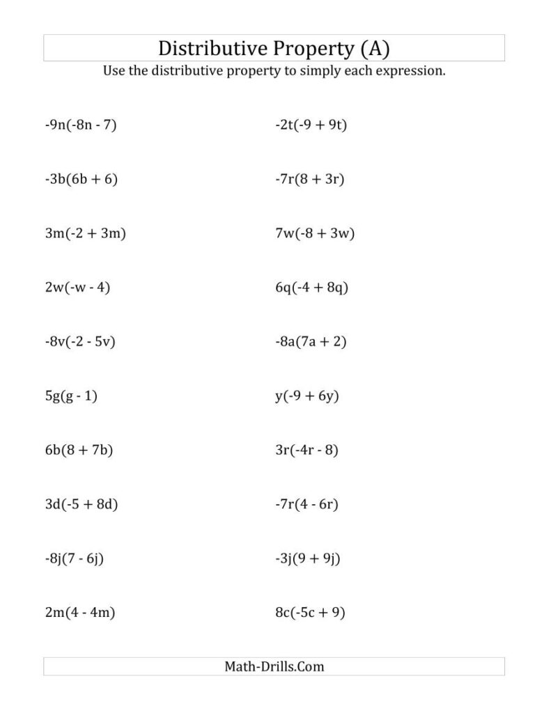 Using The Distributive Property (All Answers Include