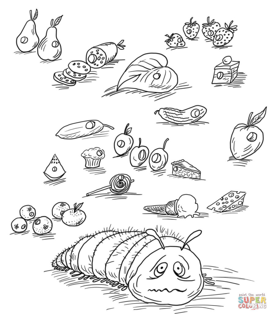 Very Hungry Caterpillar With Fruits And Foods Coloring Page