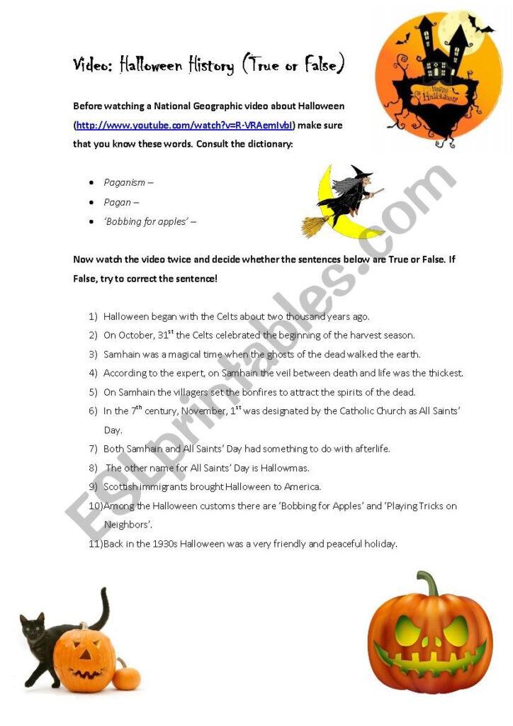 Video: Halloween History (True Or False)   Esl Worksheet
