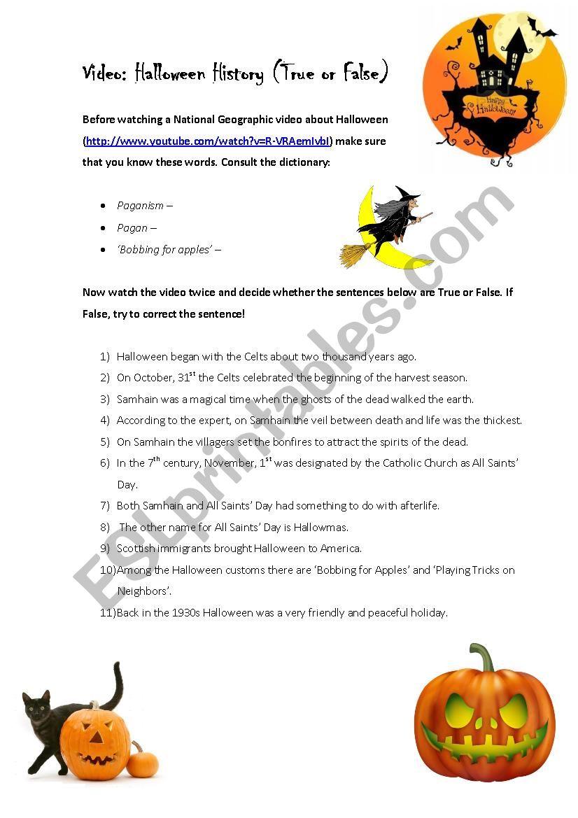 Video: Halloween History (True Or False) - Esl Worksheet