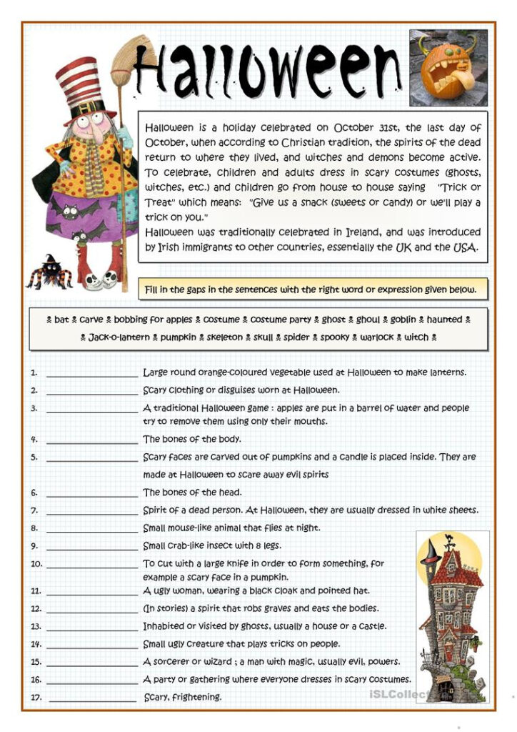 Vocabulary   Halloween   English Esl Worksheets For Distance