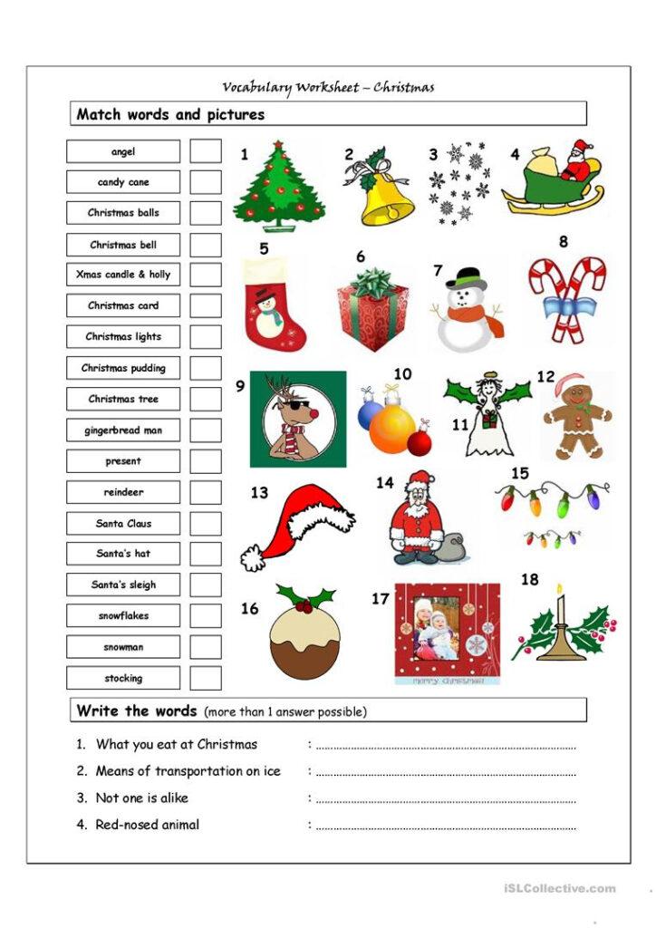 Vocabulary Matching Worksheet   Xmas   English Esl