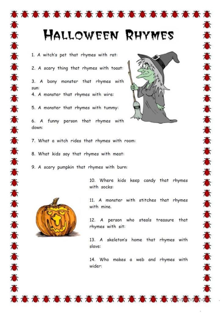 Vocabulary Work Halloween Rhymes   English Esl Worksheets