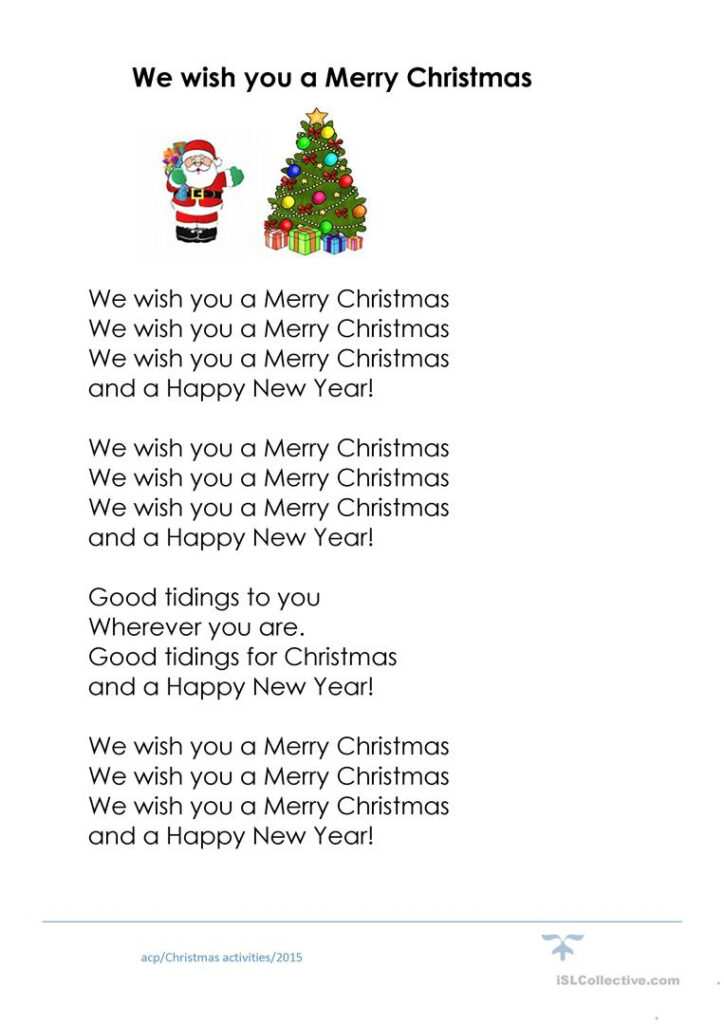 We Wish You A Merry Christmas Cloze   English Esl Worksheets