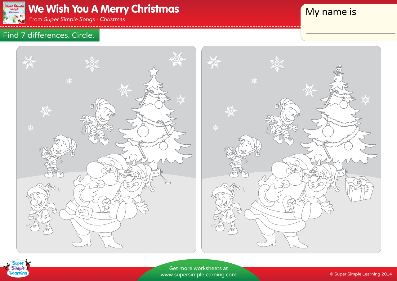 We Wish You A Merry Christmas Worksheet - Find The