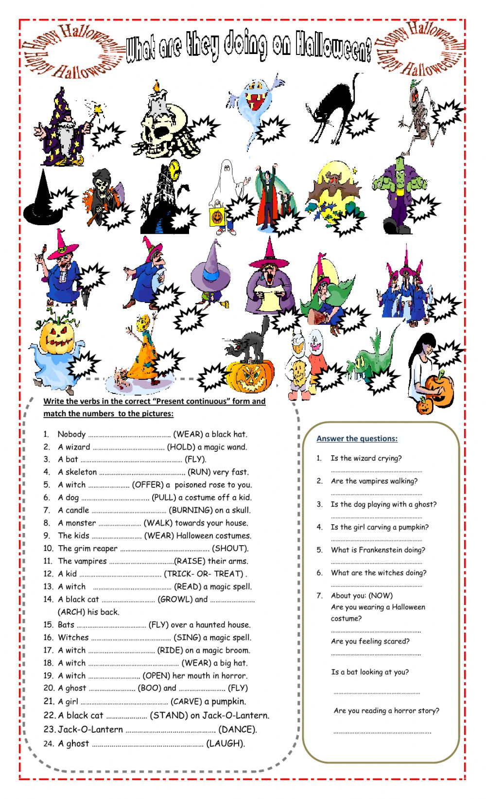 What Are They Doing On Halloween? Worksheet