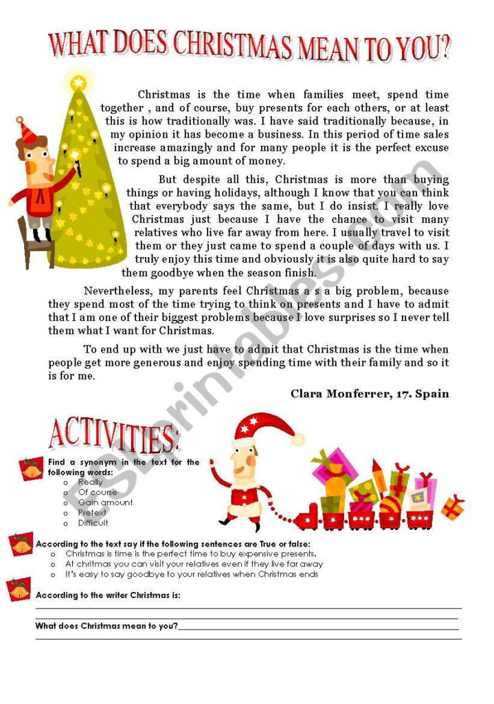 What Does Christmas Mean To You?   Esl Worksheetstupendam