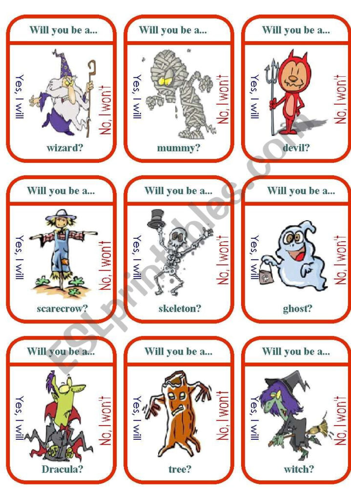 """What Will You Be For Halloween?"""" Game Cards   Esl Worksheet"""