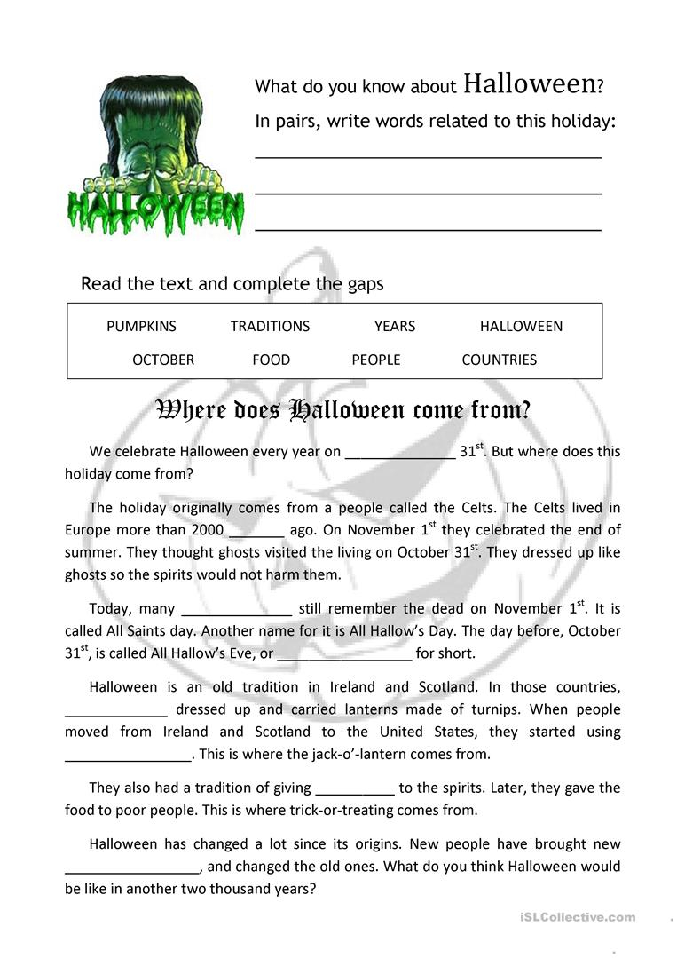 Where Does Halloween Come From? - English Esl Worksheets For