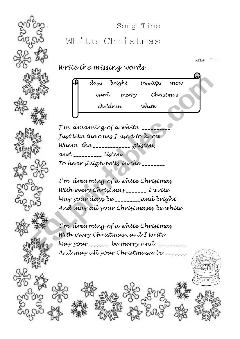 White Christmas Song - Esl Worksheetniloelupy