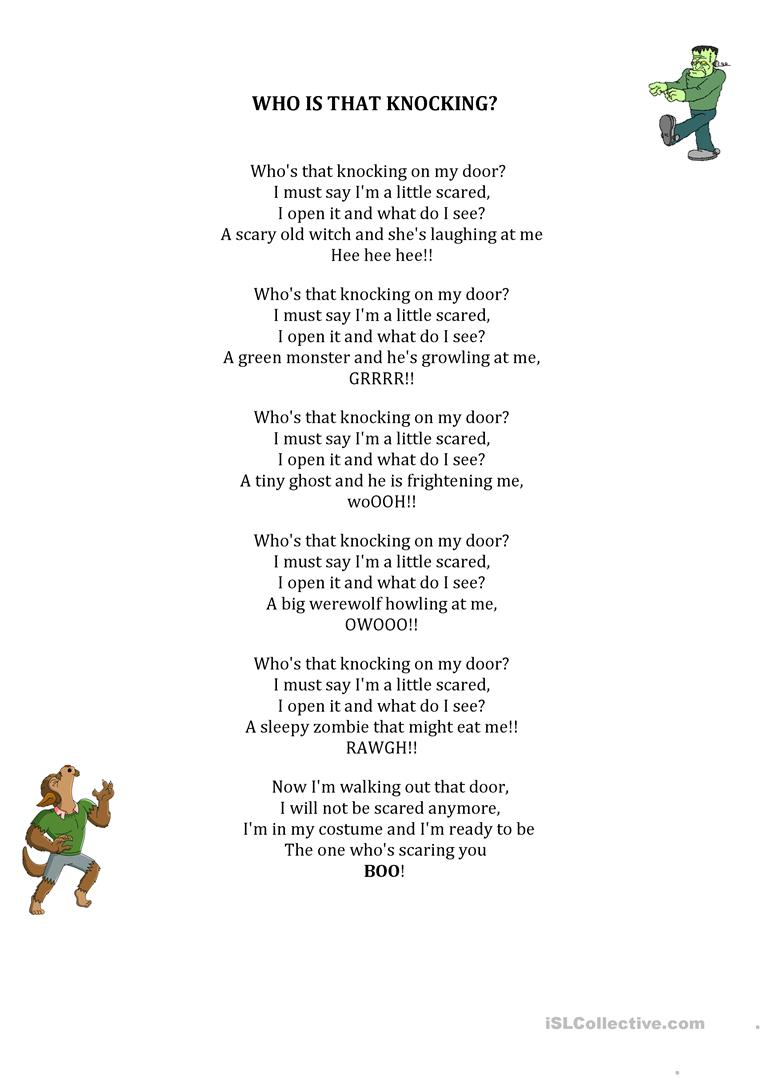 Who's That Knocking Halloween Poem - English Esl Worksheets