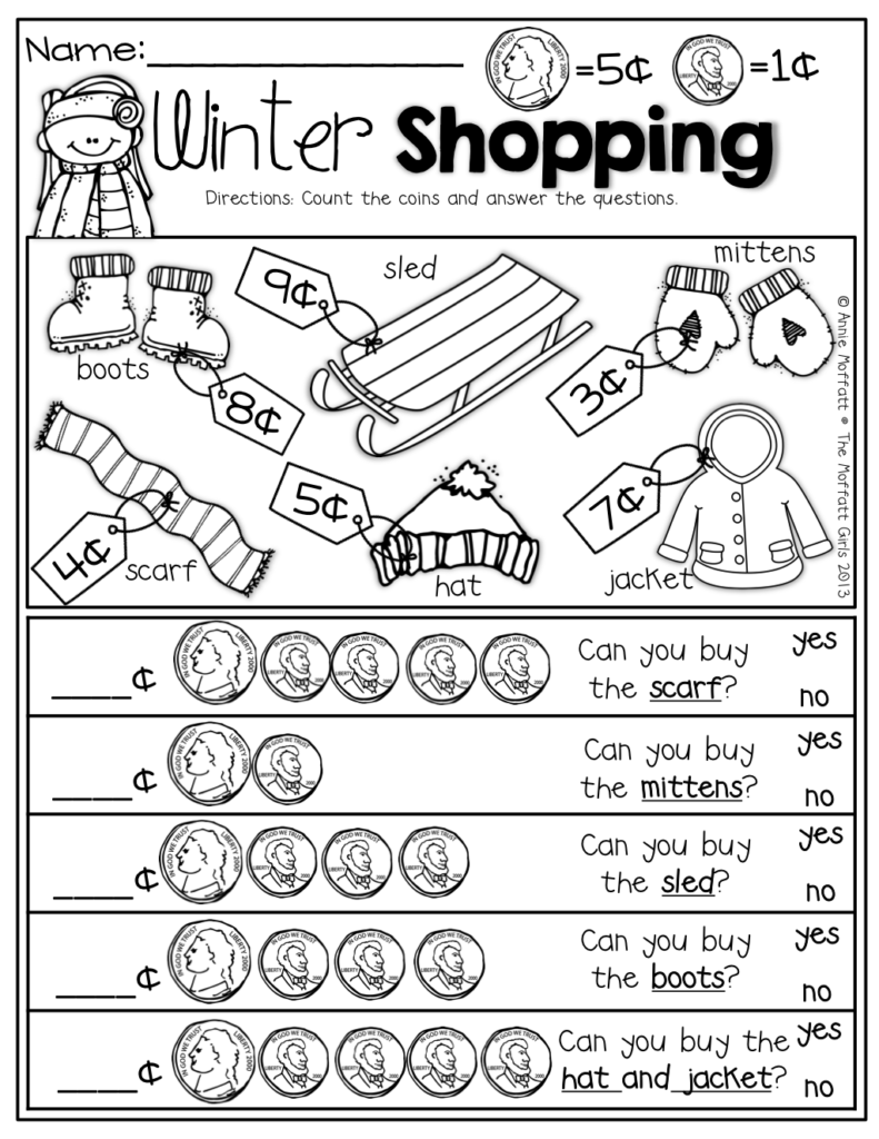Winter Shopping With Nickels And Pennies! Prefect For Adding