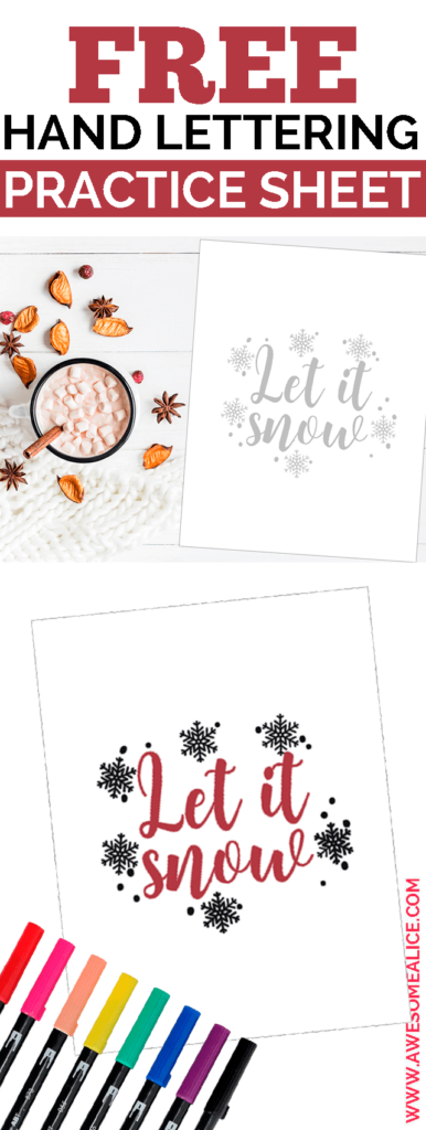 Winter Themed Brush Lettering Worksheet You Need To Practice