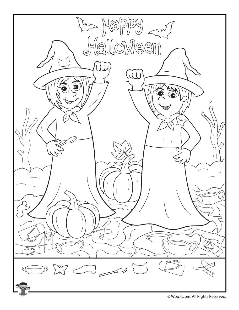 Witches Happy Halloween Hidden Items Worksheet   Woo! Jr