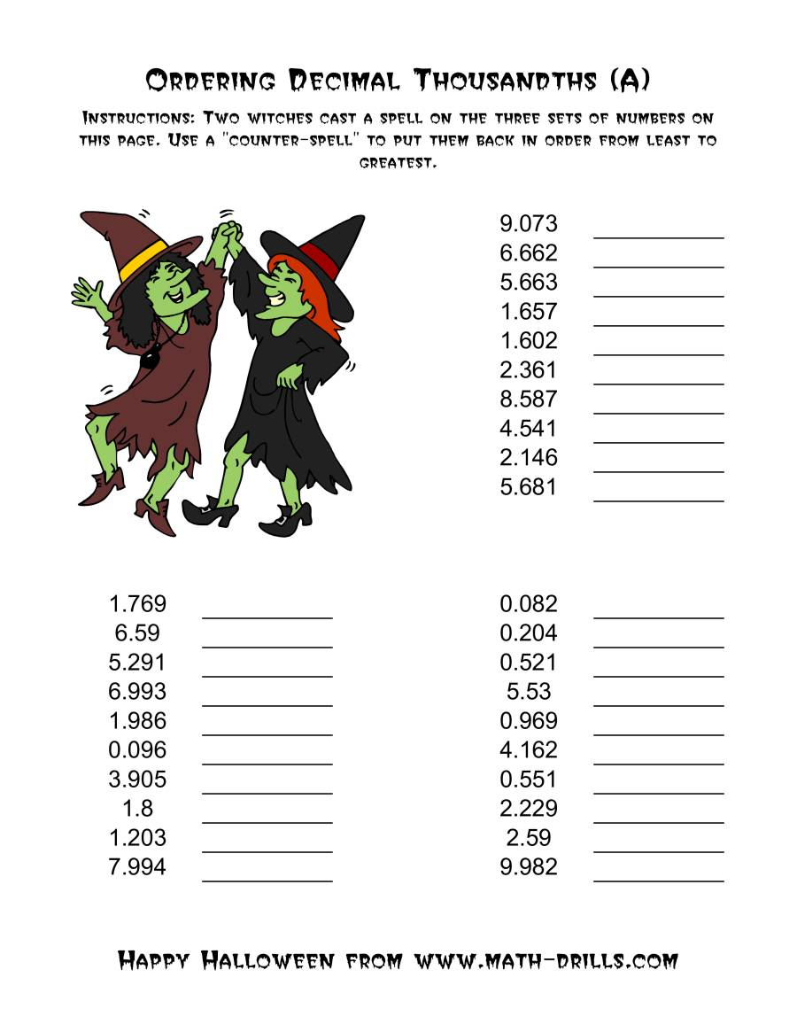 Witches Ordering Decimal Thousandths (A)