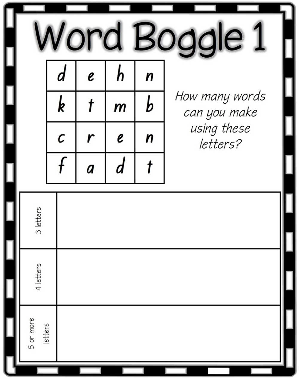 Word Boggle For Kids | Word Work, Word Games For Kids, Boggle