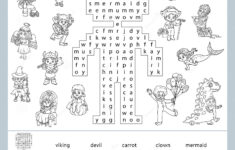 Word Search Puzzle. Cartoon Characters, Halloween Costumes