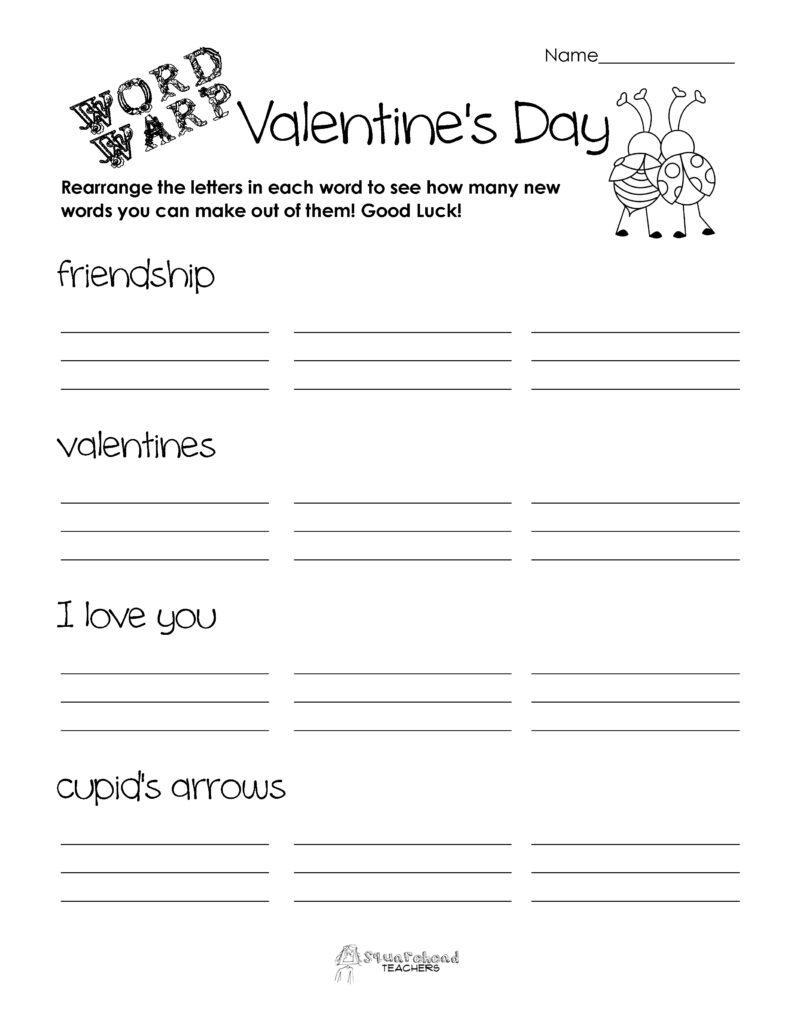 Word Warp  Valentine's Day | Squarehead Teachers