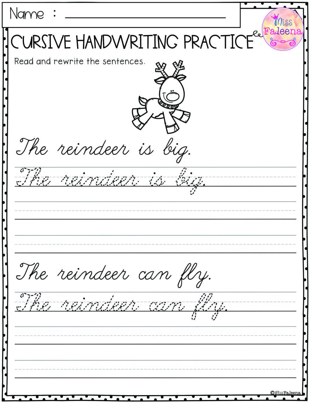 Worksheet ~ Christmas Cursive Handwriting Practice
