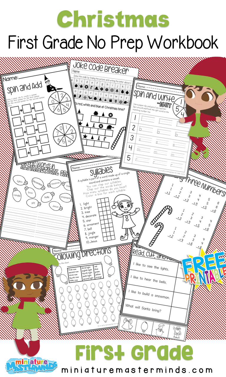 Worksheet ~ Christmas First Grade No Prep Work Online For