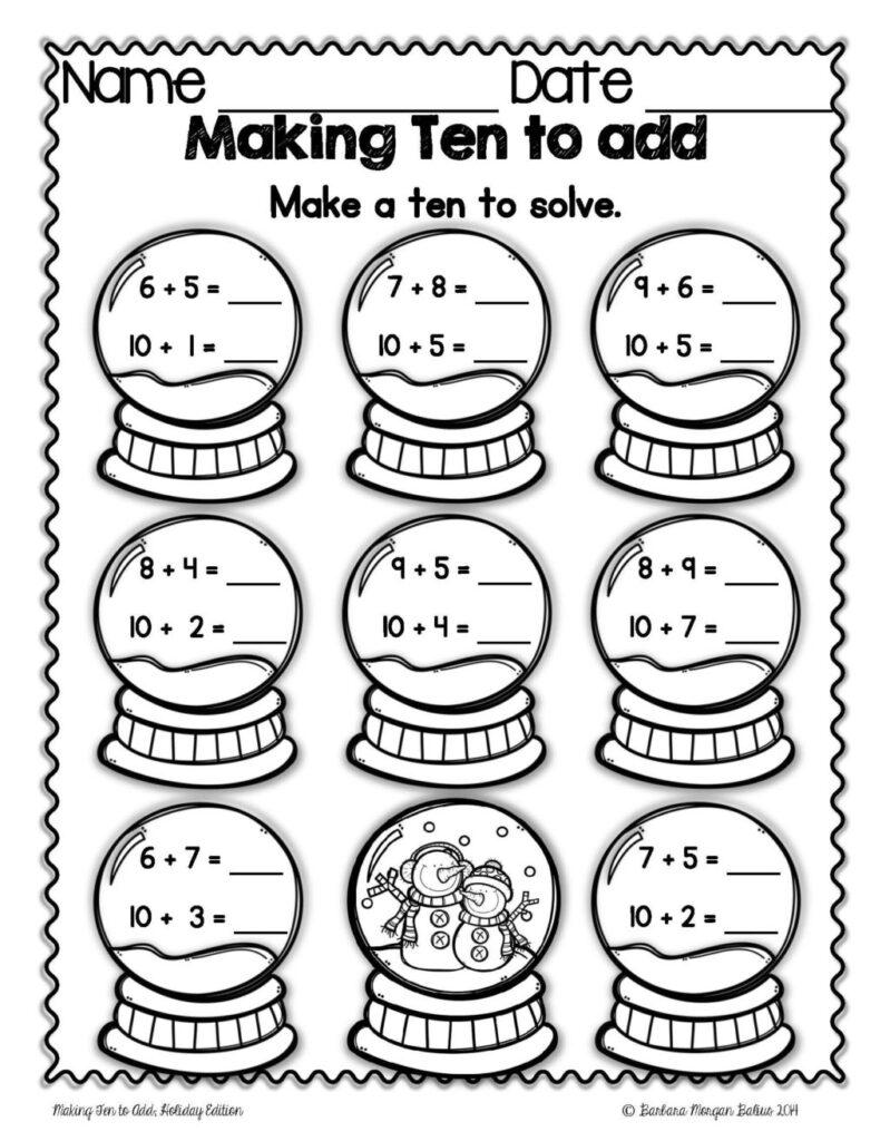 Worksheet ~ Christmas Math Making Ten To Mega Holiday