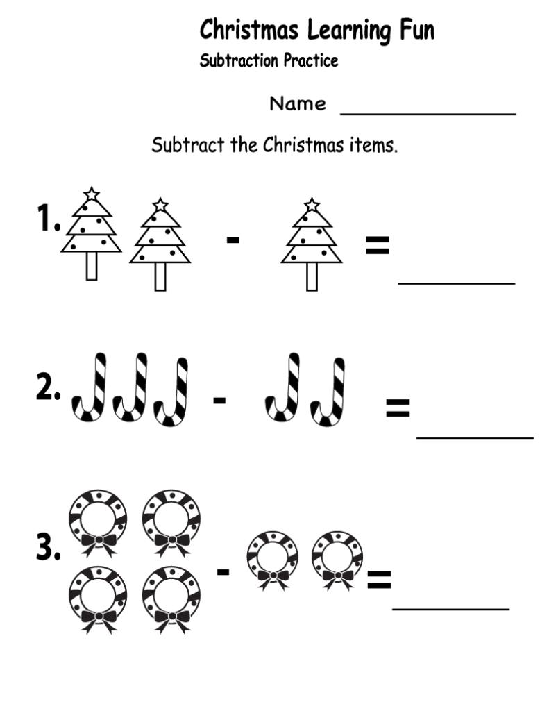 Worksheet ~ Christmas Subtraction 1St Grade