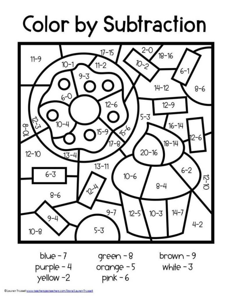 Worksheet ~ Colornumber Worksheets Subtraction 2Nd Free