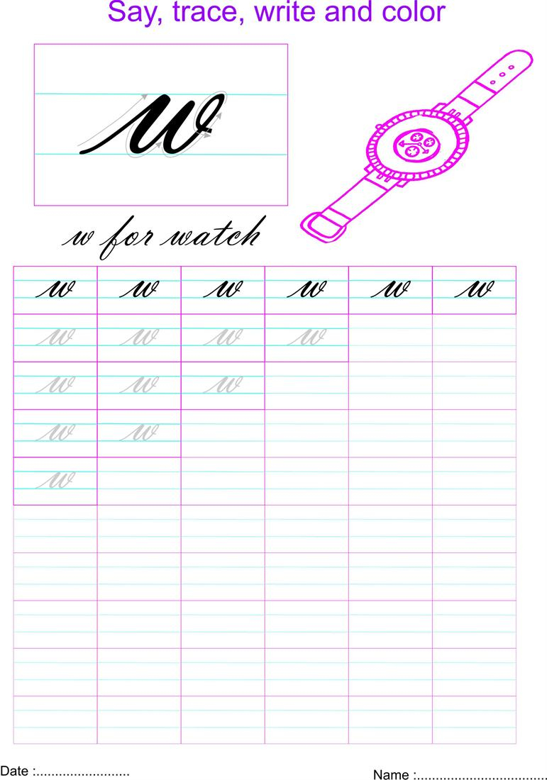Worksheet ~ Cursive Small Letter W Worksheet Writing