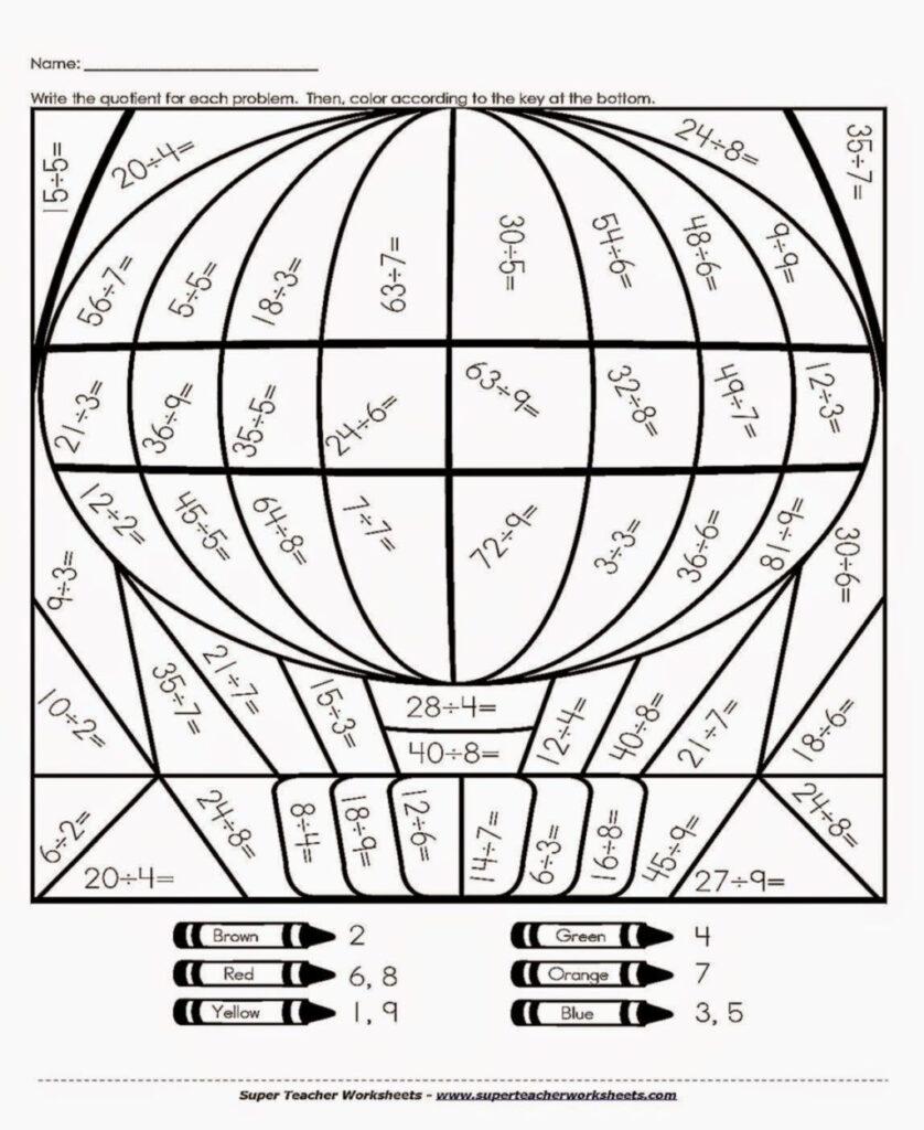 Worksheet ~ Division Colornumber Worksheets