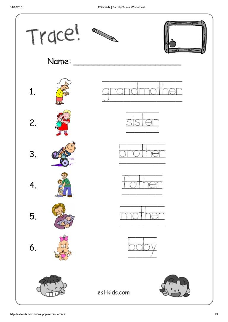 Worksheet ~ Esl Kids Family Trace Worksheet Tracing