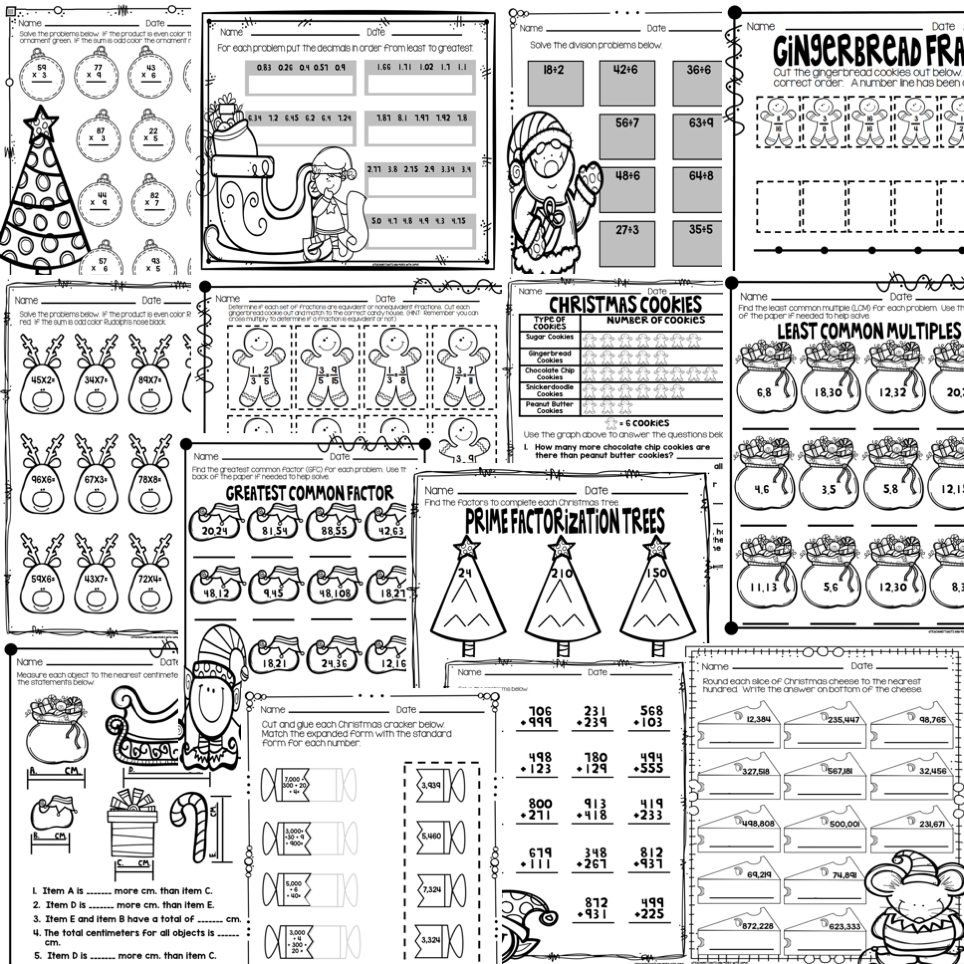 Worksheet ~ Fourth Grade Math Sheets Christmas Worksheets