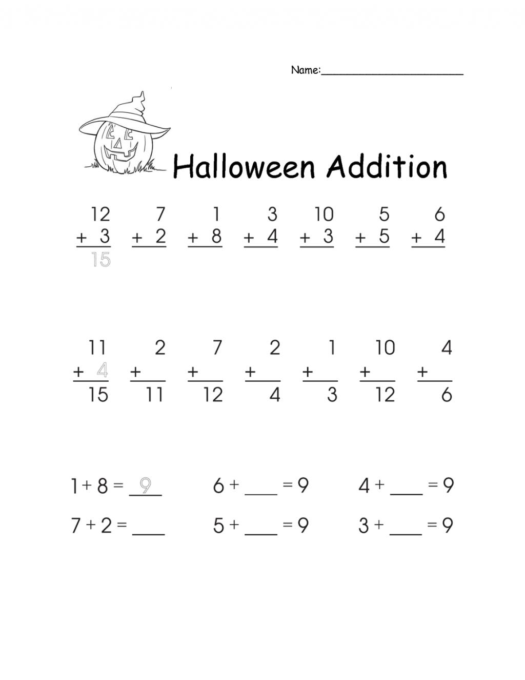 Worksheet ~ Free Math Worksheets For 1Strade Halloween