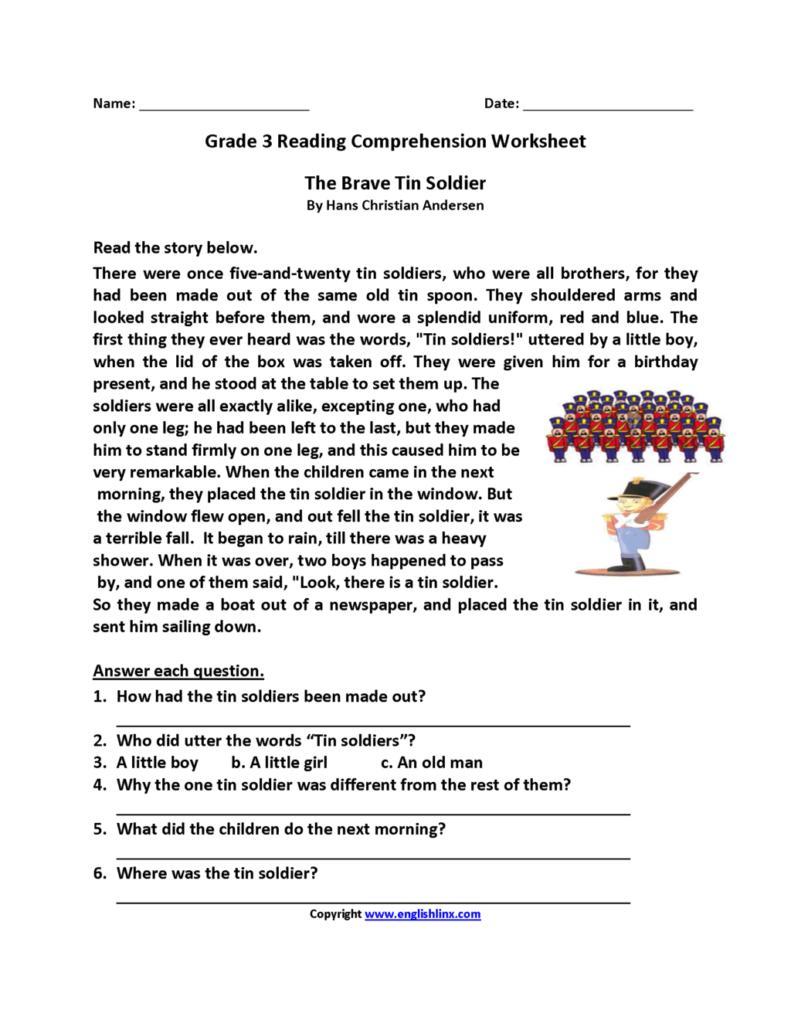 Worksheet ~ Free Reading Comprehension Worksheets Grade