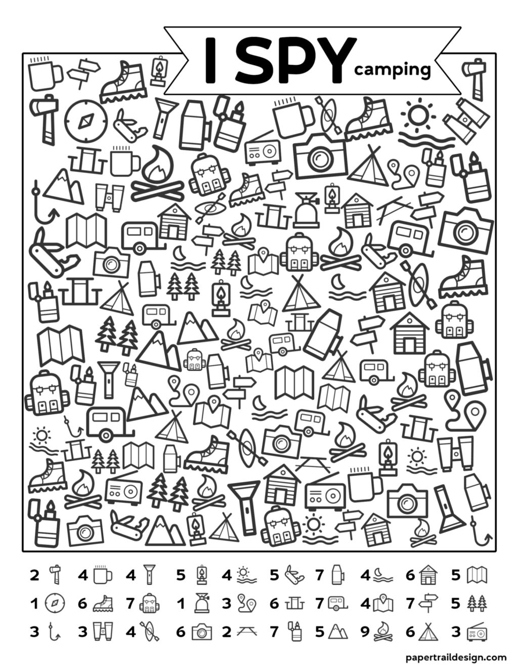 Worksheet ~ Freetable I Spy Camping Kids Activity Paper