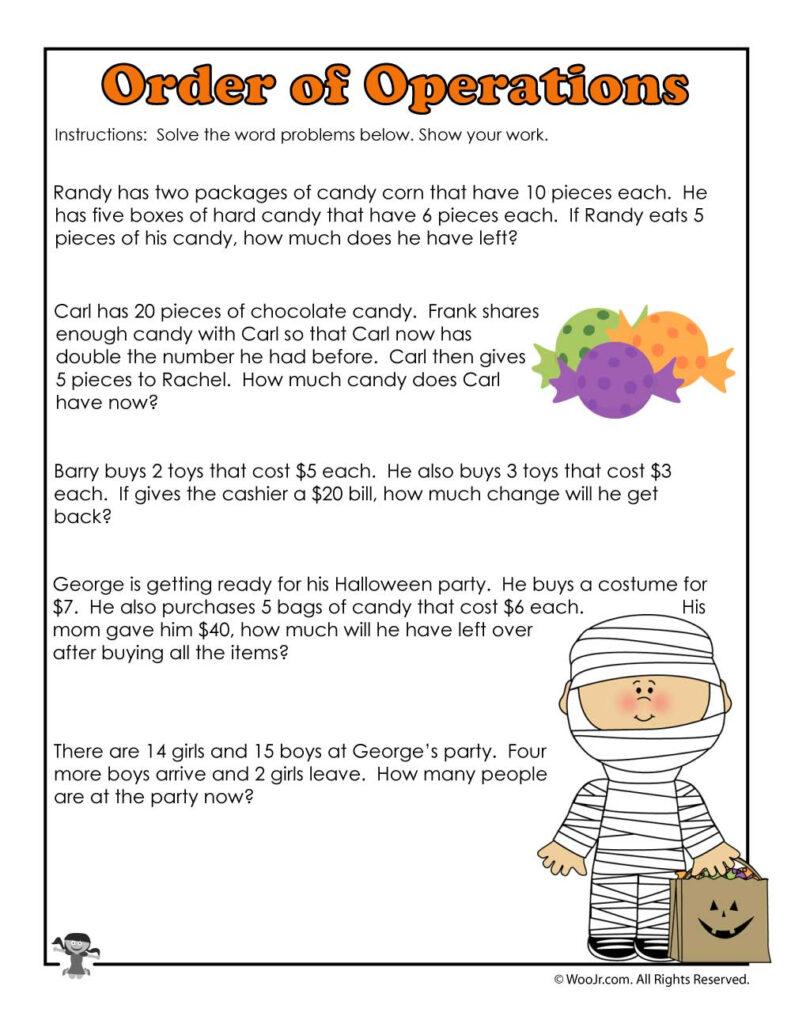 Worksheet ~ Halloween 3Rd Grade Worksheet Math Printables