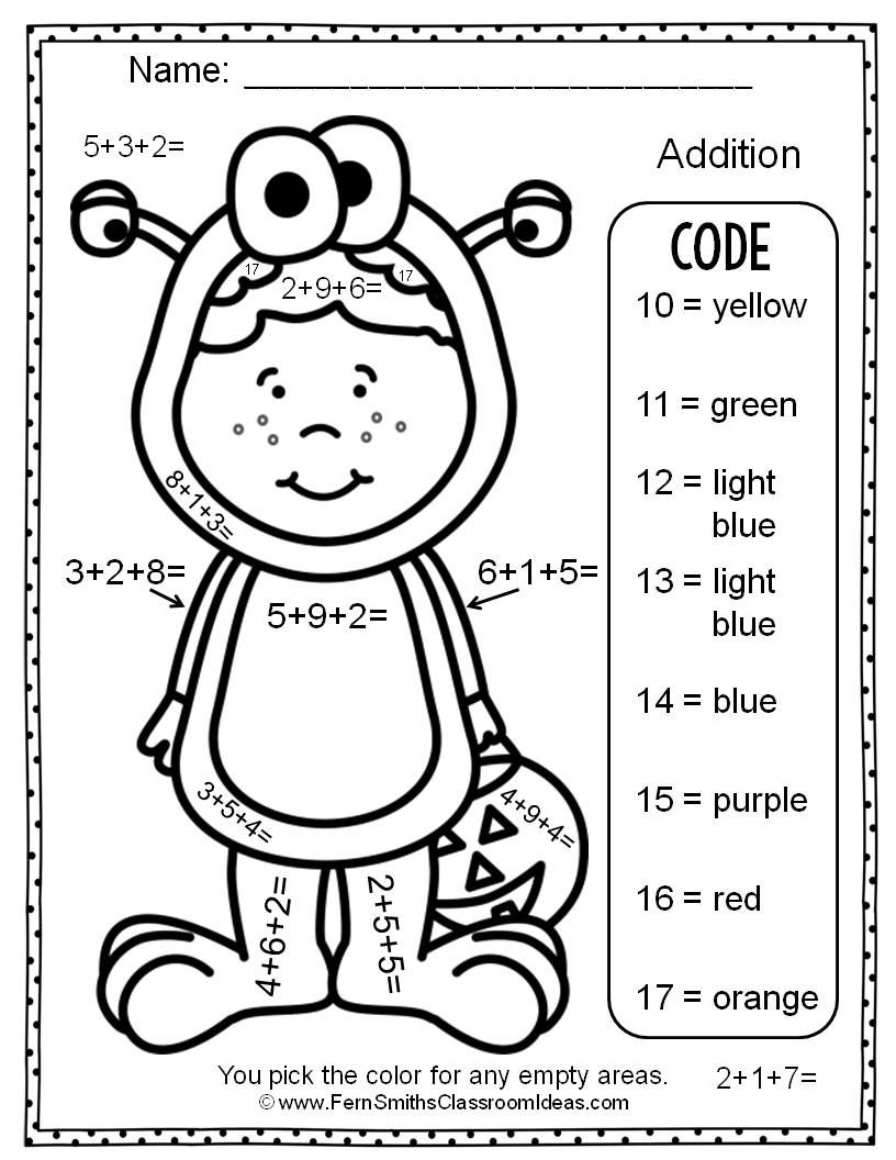 Worksheet ~ Halloween Addition Colornumber Coloring