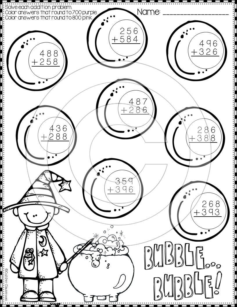 Worksheet ~ Halloween Digitition With Regrouping Color