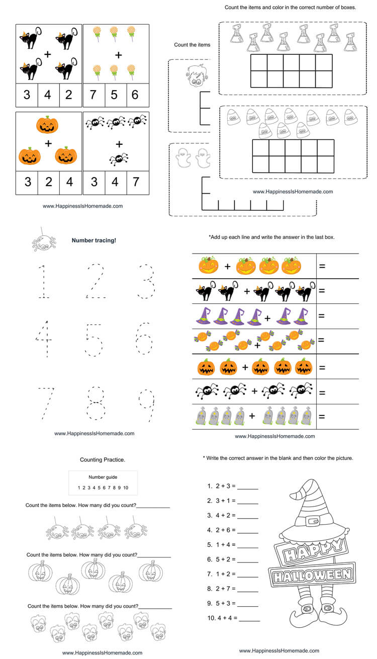Worksheet ~ Halloween Mathets Printable Pack Kindergarten