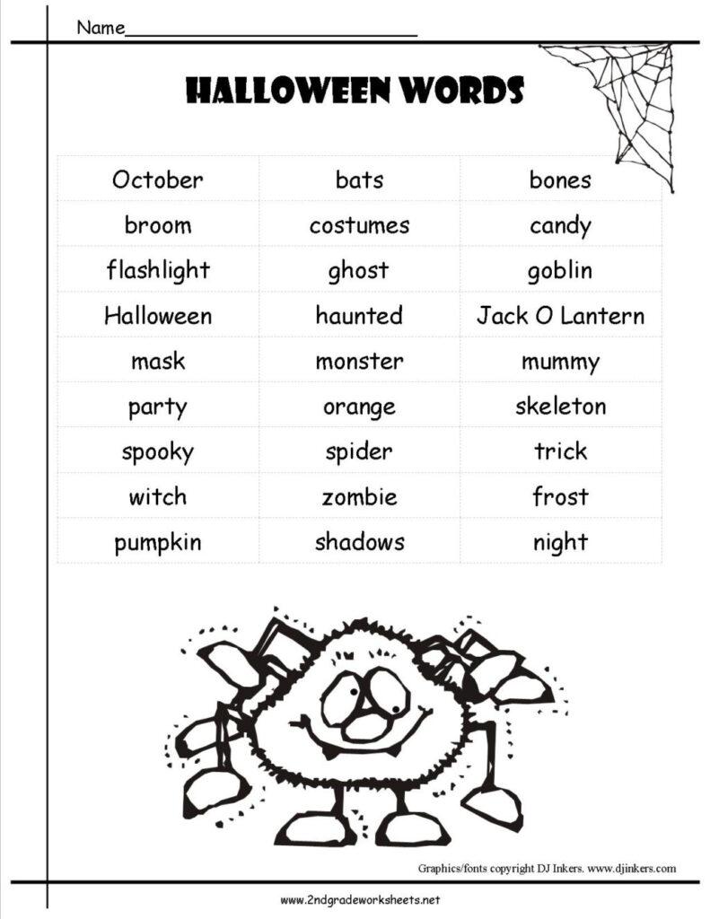 Worksheet ~ Halloweenwordlist Incredibleee First Grade