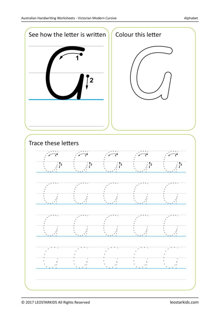 Worksheet ~ Handwriting Worksheet Sample Image Vic Upper G With Alphabet Tracing Twinkl