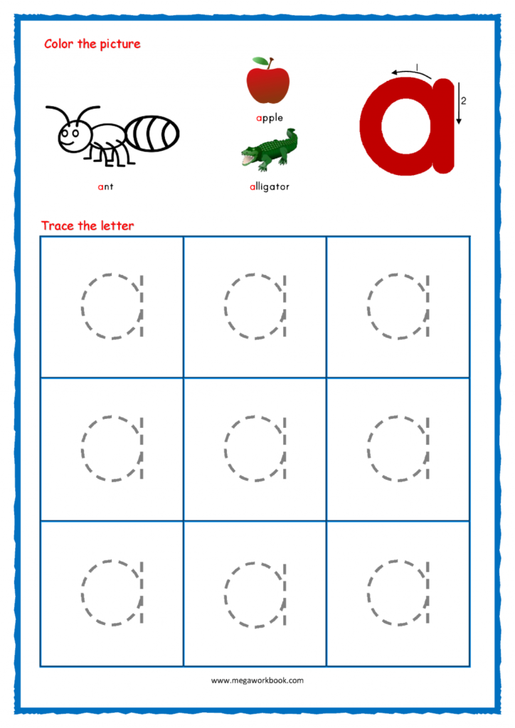 Worksheet Ideas Alphabetg Small Letters Intended For Alphabet A Tracing Worksheets