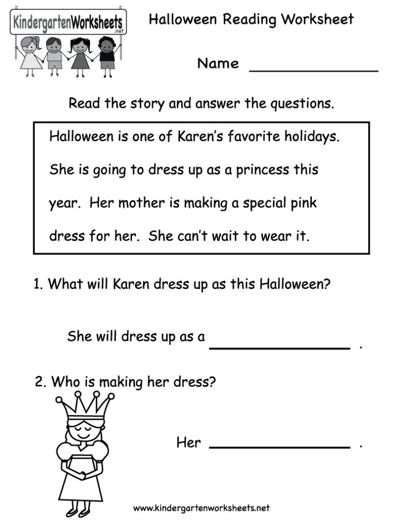 Worksheet ~ Kindergarten Halloween Reading Worksheetntable