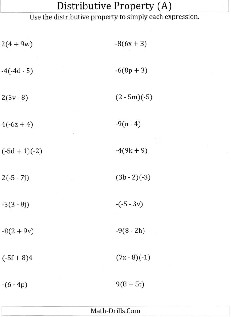 Worksheet Math Worksheets Distributive Property Using Grade