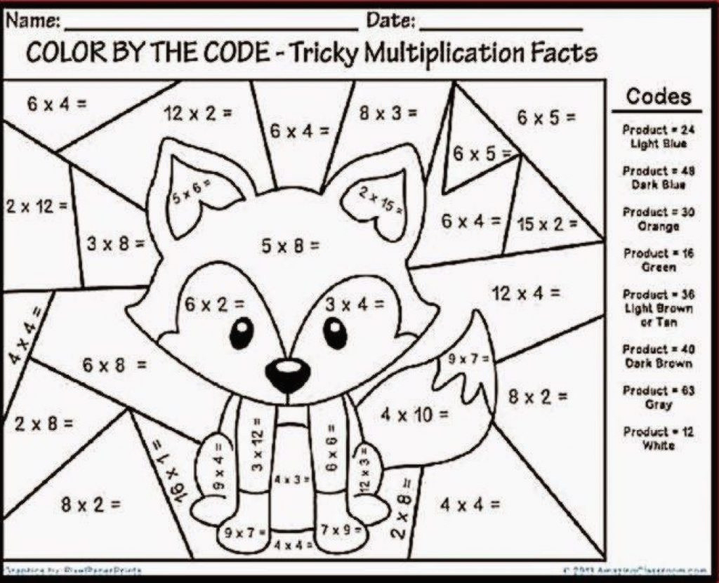 Worksheet ~ Multiplication Coloring Puzzles Tremendousation