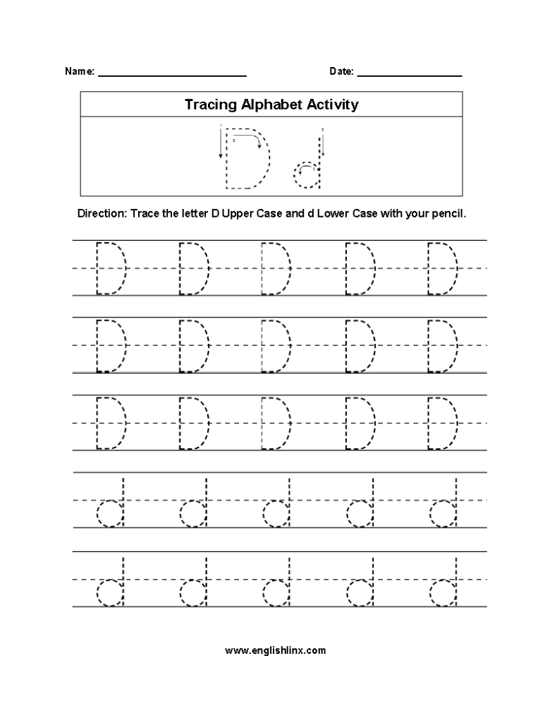 Worksheet ~ Outstanding Dotted Alphabet Worksheets Picture With Letter D Tracing Sheet