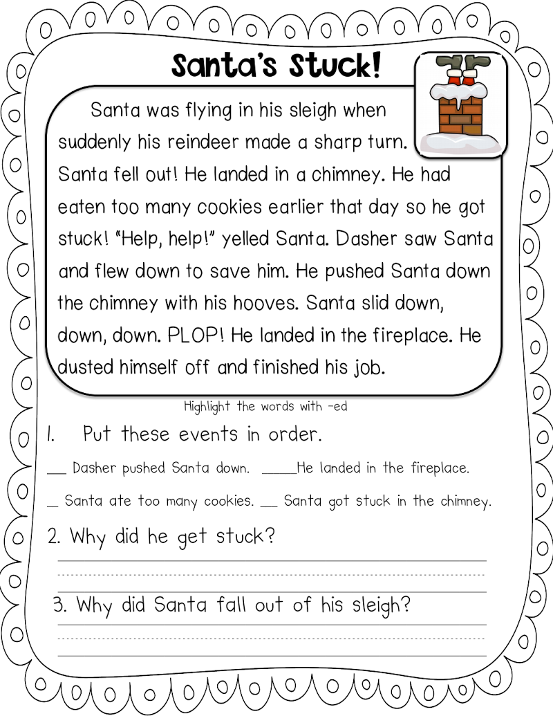 Worksheet ~ Page With Images Christmas Reading Passages