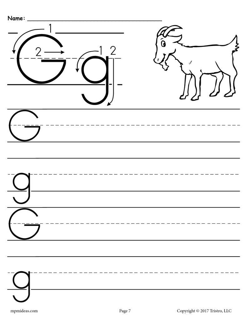 Worksheet ~ Printable Handwriting Worksheets Forrgarten inside G Letter Worksheets Preschool