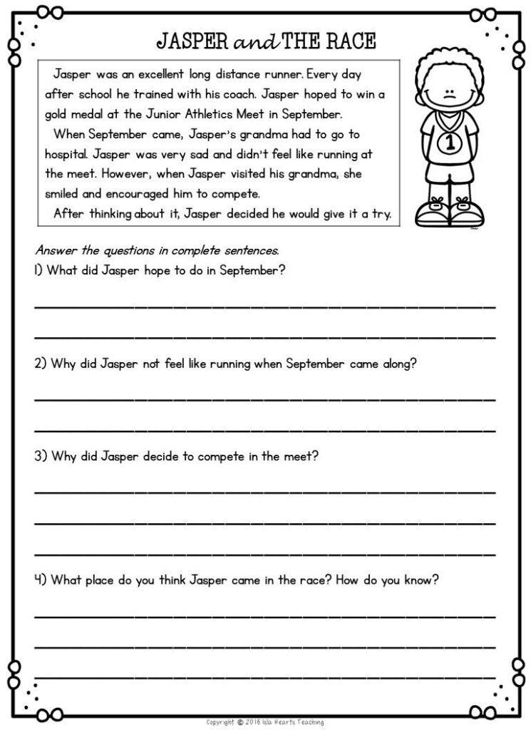 Worksheet ~ Second Grade Reading Comprehension Passages And