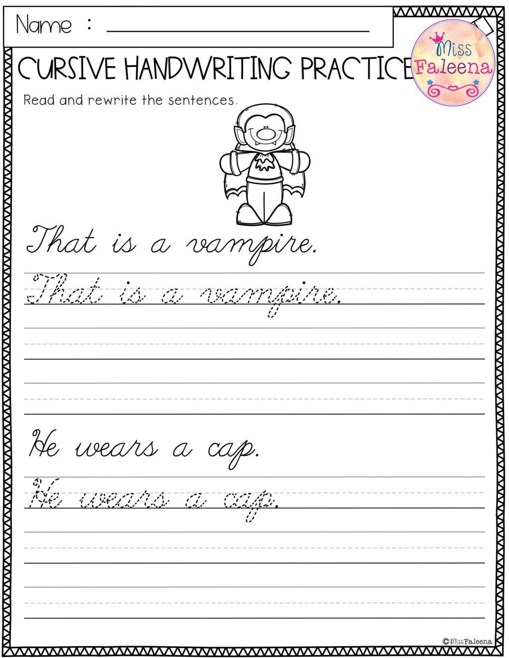 Worksheet ~ Worksheet Halloween Cursive Handwriting Practice