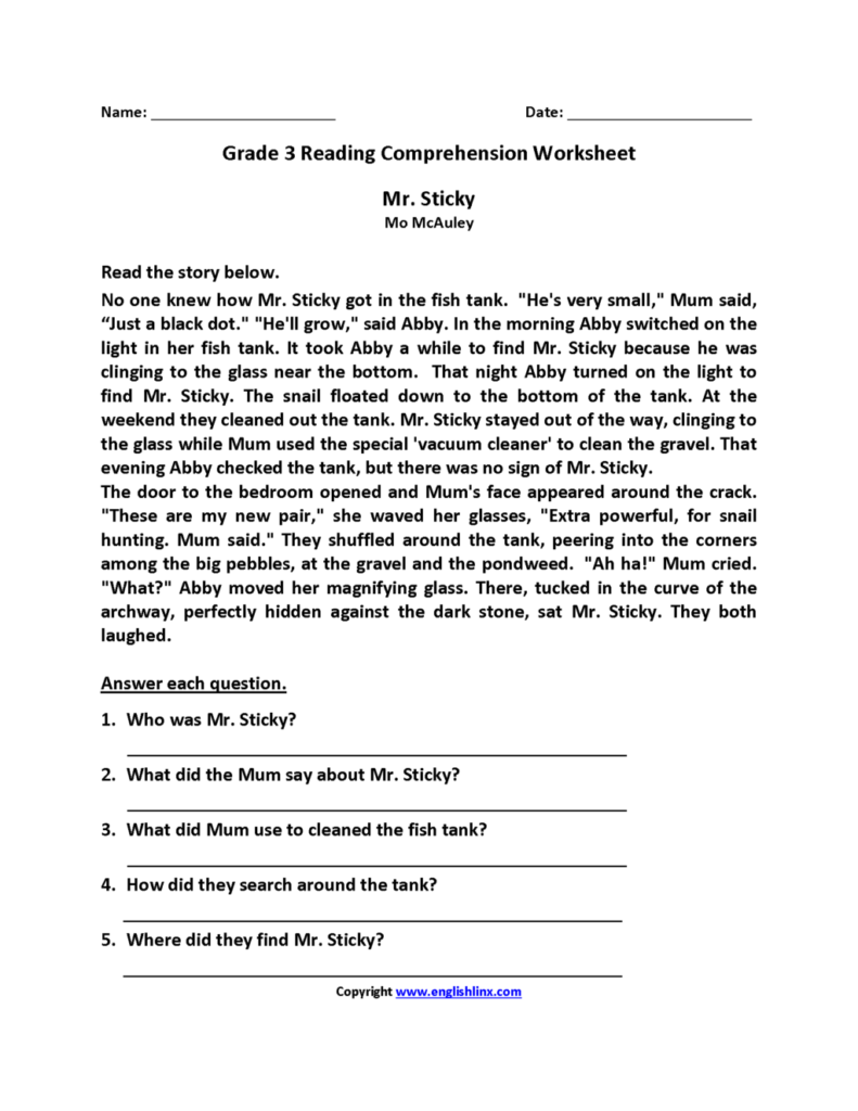 Worksheet ~ Worksheet Mr Sticky Third Grade Reading